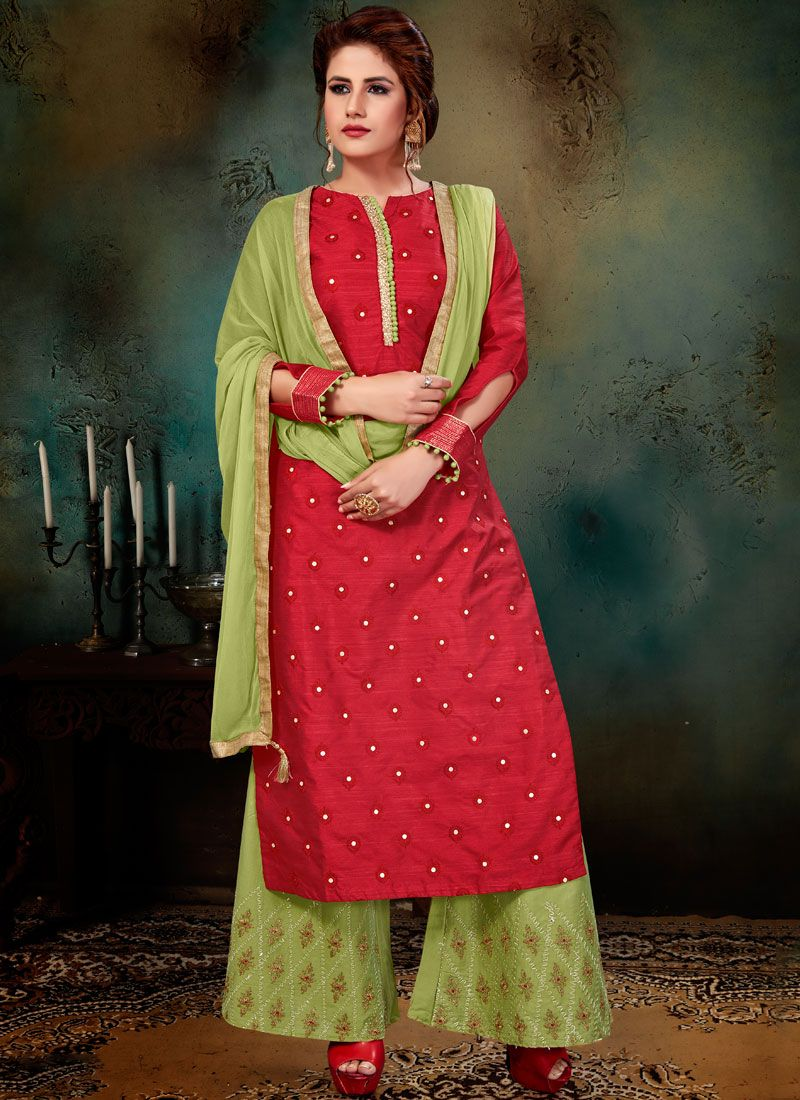 Jacquard Red Readymade Suit
