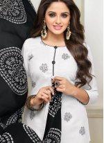 Jacquard Salwar Kameez in Off White