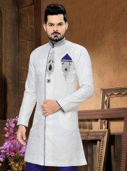 Jacquard Sherwani in Off White