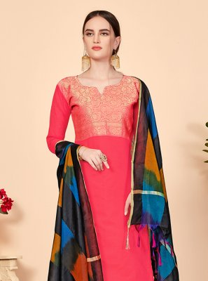 Jacquard Silk Abstract Print Pink Churidar Suit