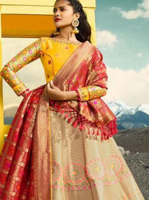 Jacquard Silk Beige and Red Lehenga Choli