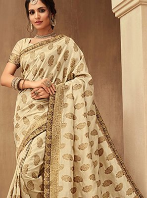 Jacquard Silk Beige Silk Saree