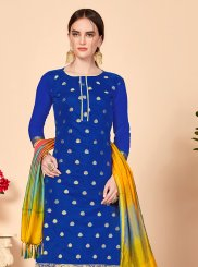 Jacquard Silk Blue Abstract Print Churidar Salwar Suit