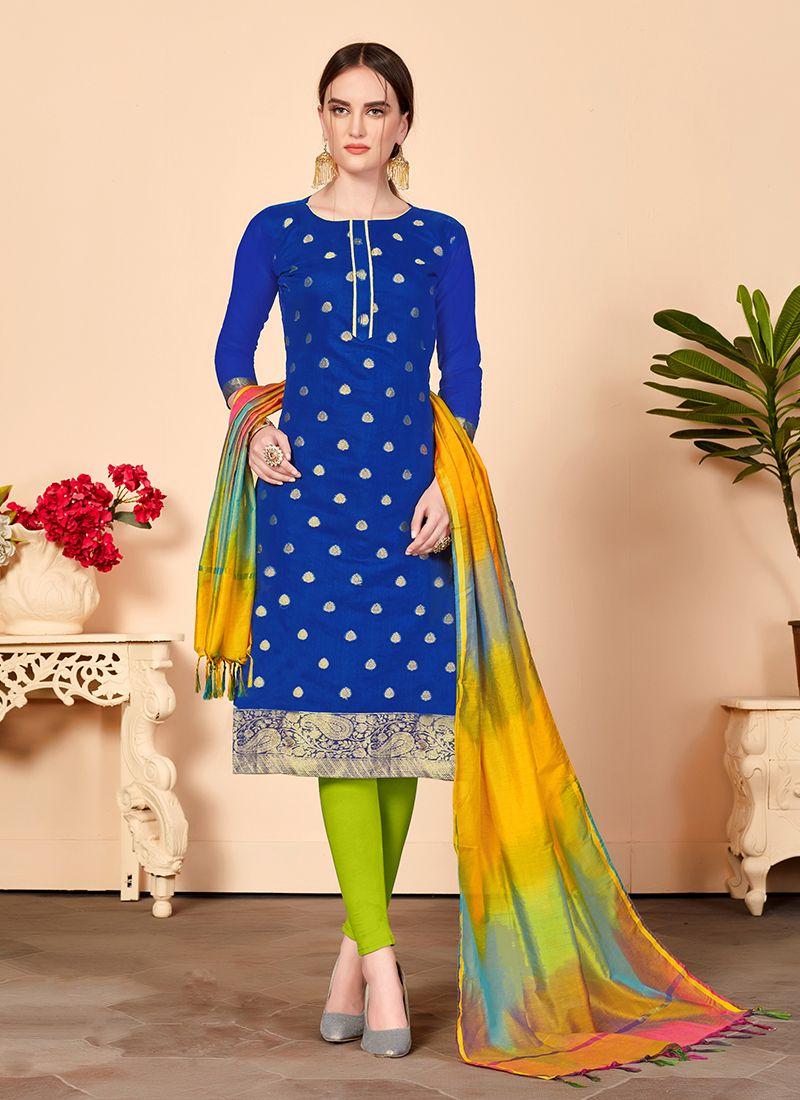 Jacquard Silk Blue Abstract Print Churidar Salwar Suit