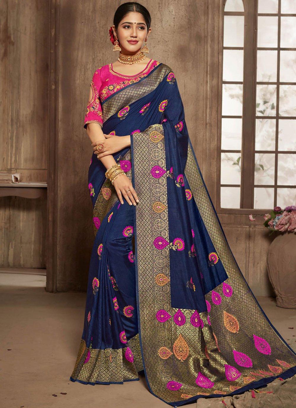 Jacquard Silk Blue Zari Traditional Designer Saree