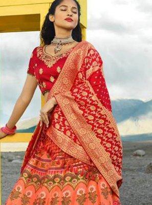 Jacquard Silk Bridal Lehenga Choli