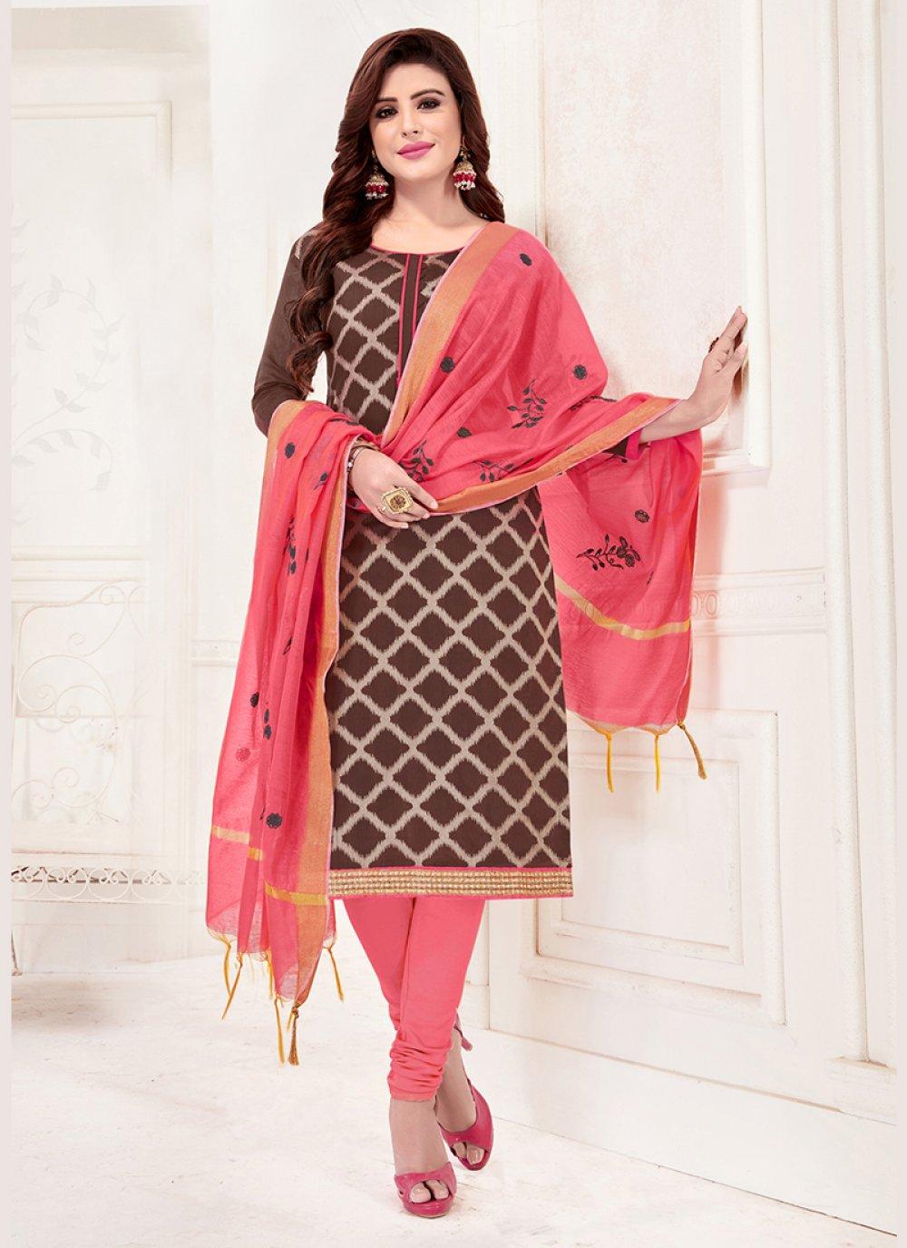 Jacquard Silk Brown Churidar Suit