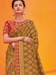 Jacquard Silk Brown Designer Traditional Saree