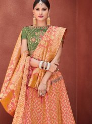 Jacquard Silk Butta Orange Designer Lehenga Choli