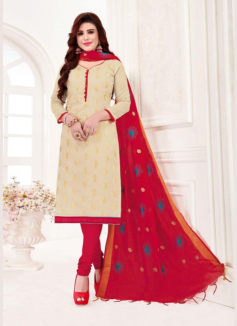 Jacquard Silk Cream Print Churidar Suit