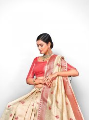 Jacquard Silk Cream Weaving Designer Traditional Saree