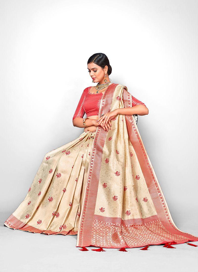 Jacquard Silk Cream Weaving Designer Traditional Saree