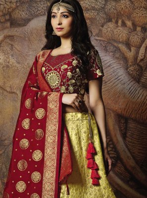 Jacquard Silk Designer Lehenga Choli in Yellow