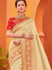 Jacquard Silk Embroidered Beige Traditional Designer Saree