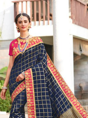 Jacquard Silk Embroidered Designer Traditional Saree in Blue