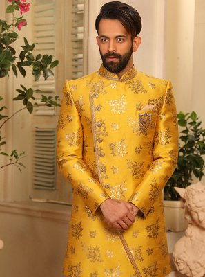 Jacquard Silk Embroidered Indo Western in Yellow