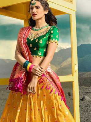 Jacquard Silk Embroidered Lehenga Choli in Mustard
