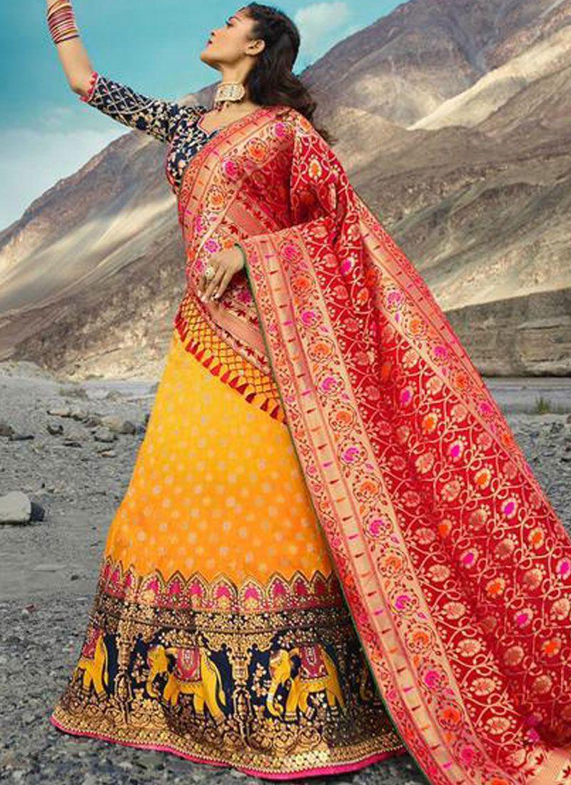 Jacquard Silk Embroidered Lehenga Choli in Yellow
