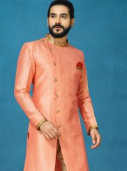 Jacquard Silk Embroidered Peach Indo Western