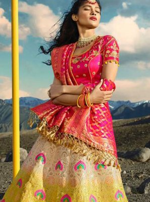 Jacquard Silk Embroidered Pink and Yellow Lehenga Choli