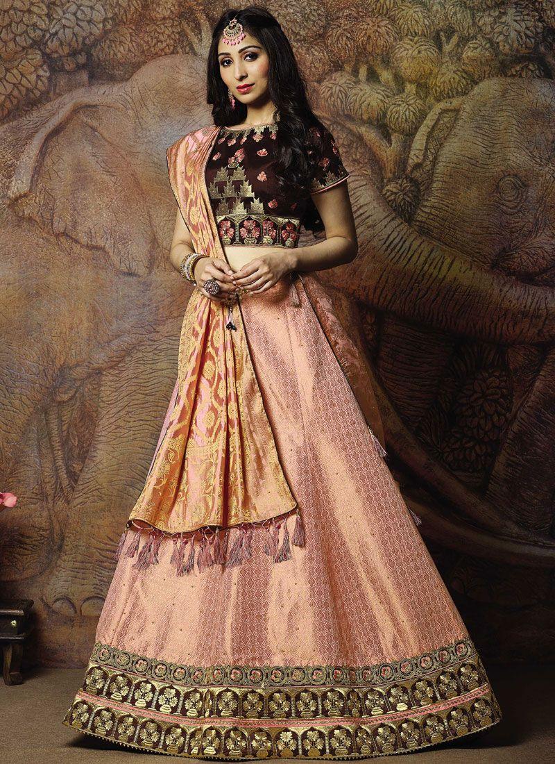 Jacquard Silk Embroidered Pink Trendy Lehenga Choli