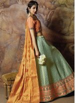 Jacquard Silk Embroidered Sea Green Designer Lehenga Choli