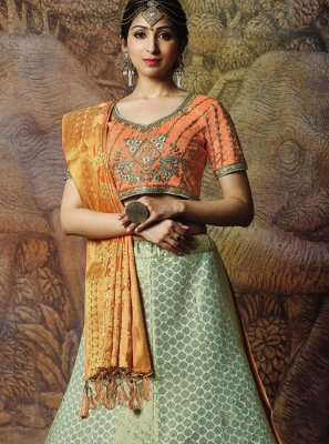 Jacquard Silk Embroidered Sea Green Designer Lehenga Choli