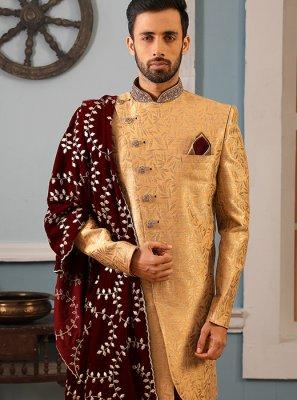 Jacquard Silk Embroidered Sherwani in Gold