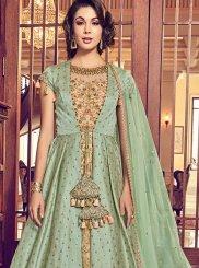 Jacquard Silk Green Designer Salwar Kameez