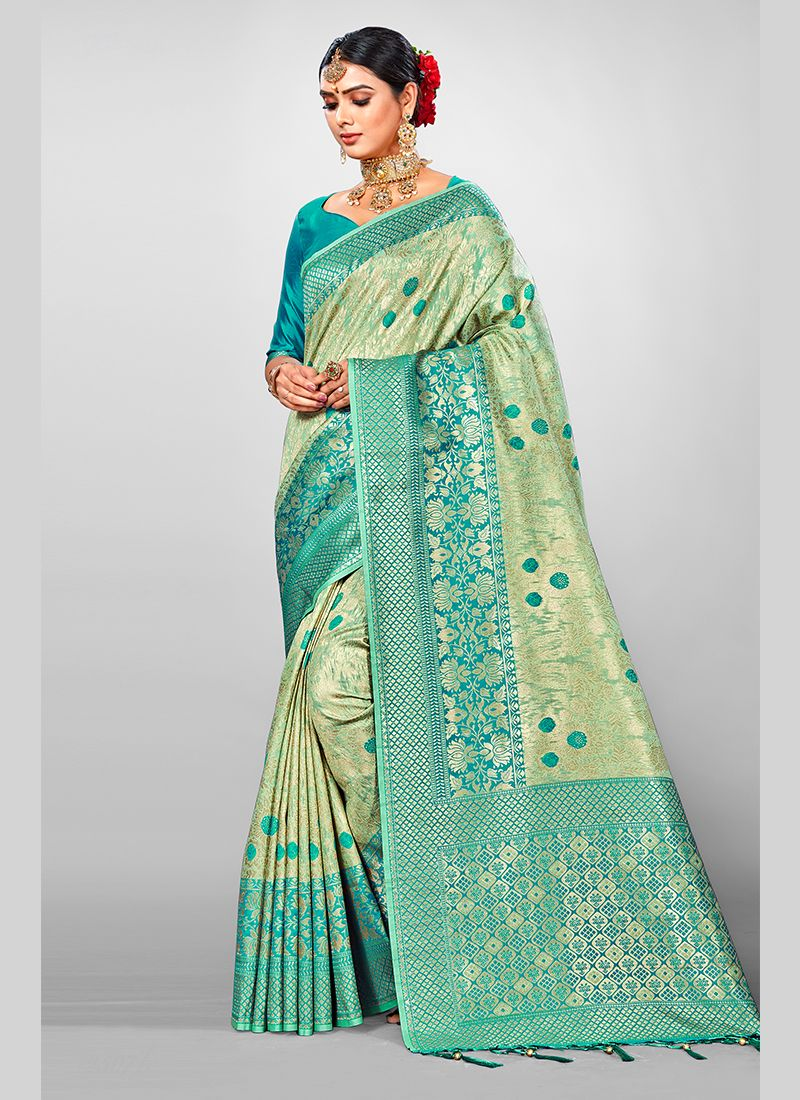 Jacquard Silk Green Designer Traditional Saree