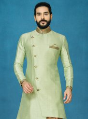 Jacquard Silk Green Embroidered Indo Western