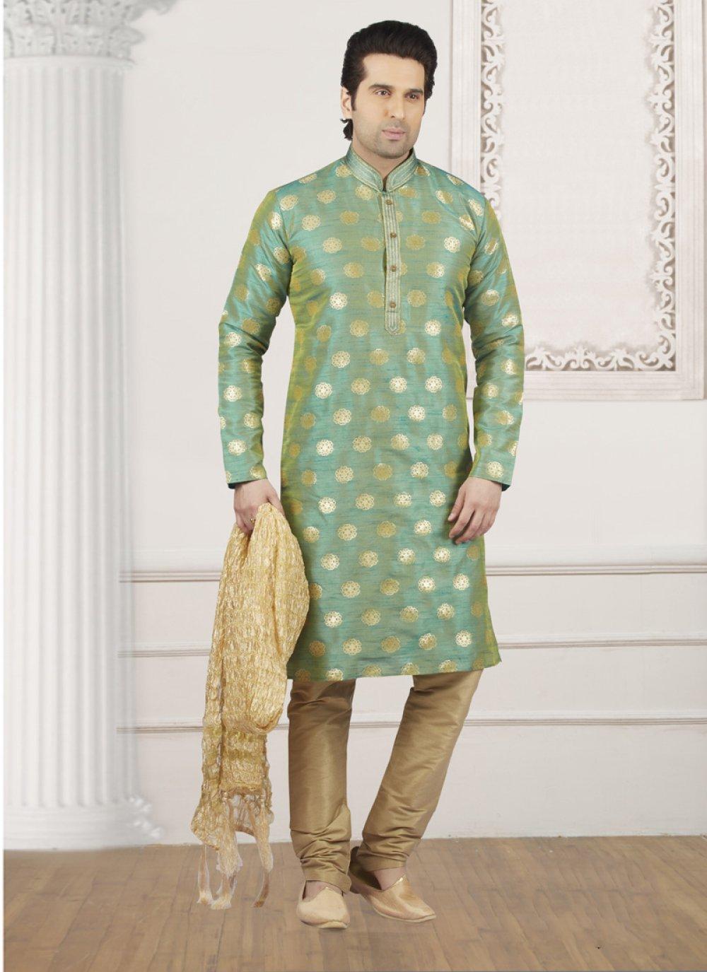 Jacquard Silk Green Embroidered Kurta Pyjama