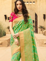 Jacquard Silk Green Weaving Classic Designer Saree