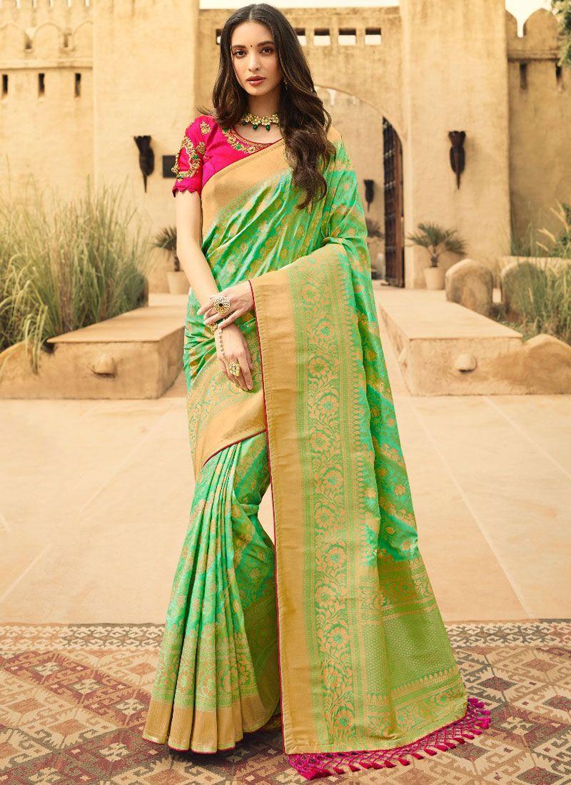 Jacquard Silk Green Weaving Classic Designer Saree