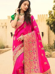 Jacquard Silk Hot Pink Designer Traditional Saree
