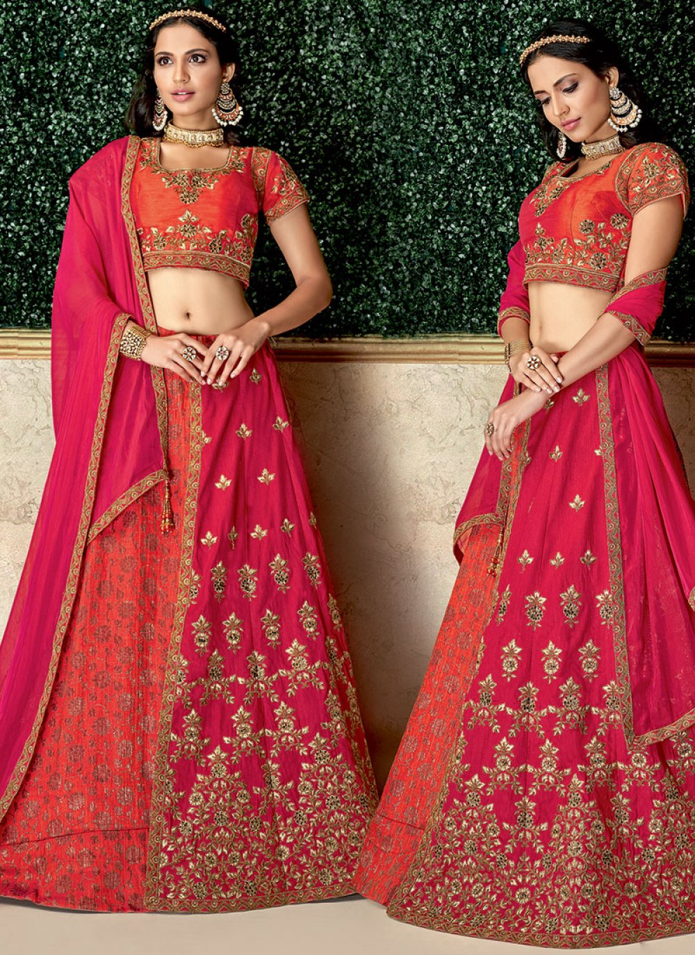 Jacquard Silk Hot Pink Lehenga Choli