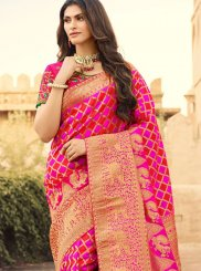 Jacquard Silk Hot Pink Weaving Classic Designer Saree