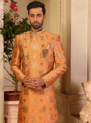 Jacquard Silk Indo Western in Peach