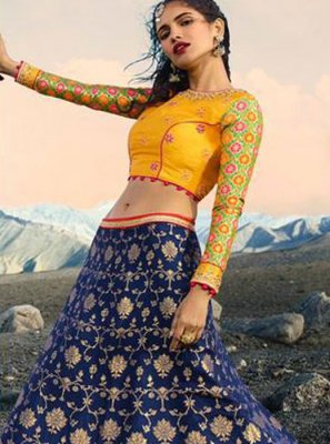 Jacquard Silk Navy Blue and Yellow Zari Lehenga Choli
