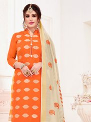 Jacquard Silk Orange Churidar Suit