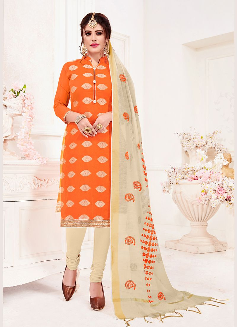 Jacquard Silk Orange Churidar Suit
