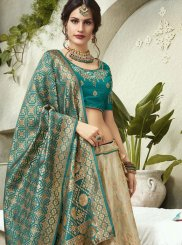Jacquard Silk Patch Border Sea Green Lehenga Choli