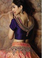 Jacquard Silk Peach Thread Designer Lehenga Choli