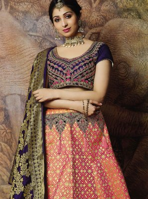 Jacquard Silk Peach Thread Designer Lehenga Choli