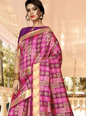 Jacquard Silk Pink and Purple Embroidered Designer Traditional Saree