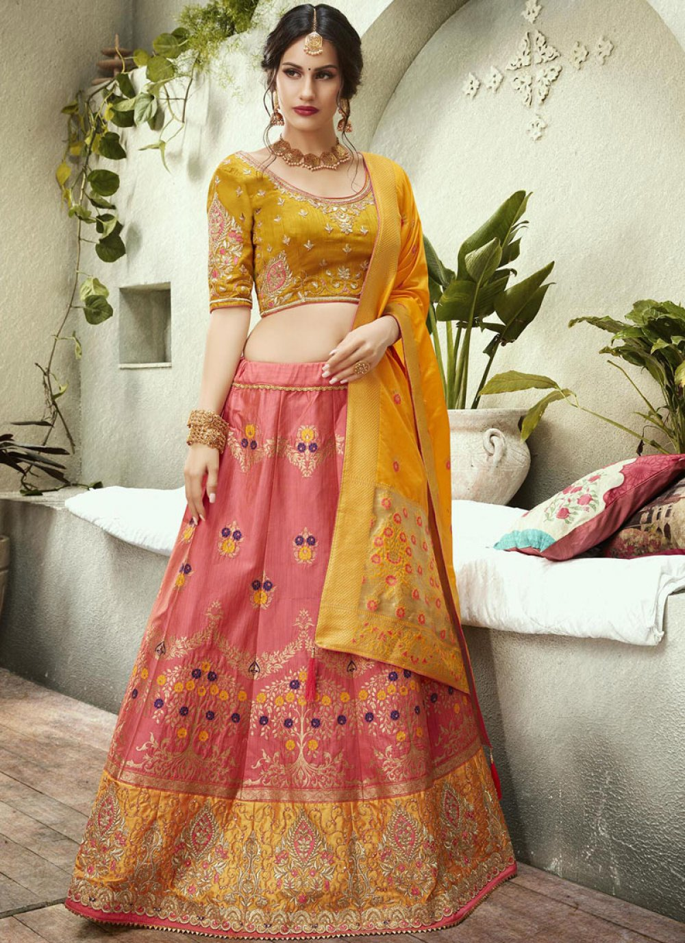 Jacquard Silk Pink and Yellow Lehenga Choli