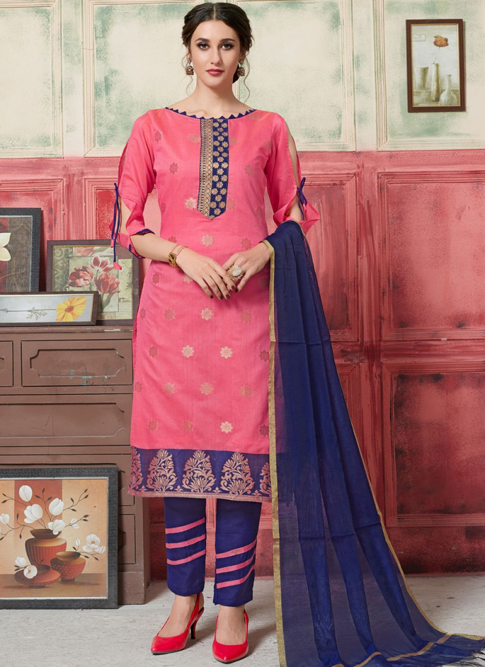 Jacquard Silk Pink Designer Suit