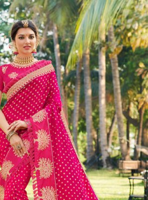 Jacquard Silk Pink Embroidered Designer Traditional Saree