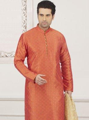 Jacquard Silk Plain Orange Kurta Pyjama