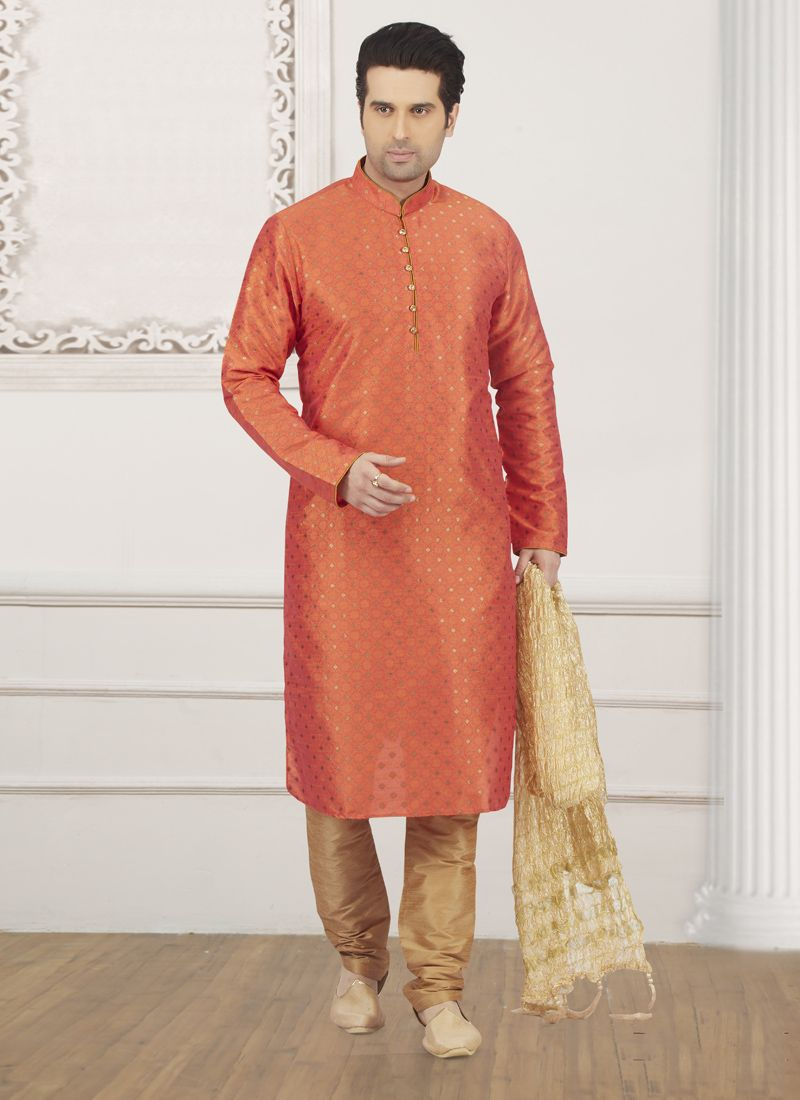 Jacquard Silk Plain Orange Kurta Pyjama